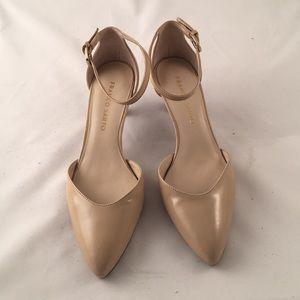 Franco Sarto tan patent ankle strap heel size 6.5